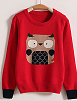 Women's Character Gray Loose Thicken Cute Pullover , Casual Long Sleeve