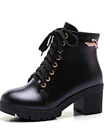 Women's Shoes Chunky Heel Round Toe / Closed Toe Boots Office & Career / Dress / Casual Black / White