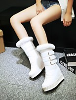 Women's Shoes Leatherette Wedge Heel Wedges /  Round Toe Boots Outdoor / Office & Career / Casual Black / Pink / White