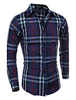 Men's Casual Slim Long Sleeved Plaid Shirt , Cotton / Polyester Casual Plaids & Checks