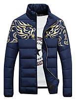 Manteau Doudoune Hommes,Normal simple Décontracté / Quotidien / Grandes Tailles Imprimé-Coton / Polyester Coton Manches LonguesBleu /