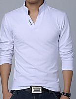 Men's Fashion Letter Print V Collar Slim Long Sleeved Polo