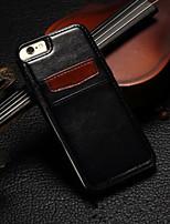 Для Кейс для iPhone 6 / Кейс для iPhone 6 Plus Бумажник для карт Кейс для Задняя крышка Кейс для Один цвет Твердый Искусственная кожа для