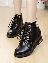 Women's Shoes Europe Style Thicken Flat Heel Round Toe Boots Dress / Casual Black / Brown / Red