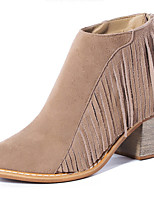 Women's Shoes Suede Chunky Heel Bootie / Round Toe / Closed Toe Boots Dress / Casual Black / Brown / Khaki