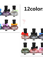 12pcs  Tribal Color Green 12ML  Nail Polish Bow Series
