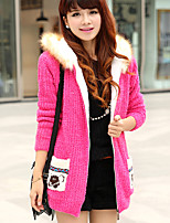 Women's Color Block / Jacquard Blue / Pink / Red / Black / Yellow / Beige Cardigan , Casual Long Sleeve