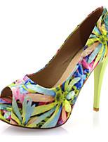 Women's Shoes Customized Materials Stiletto Heel Heels / Peep Toe Sandals Wedding / Dress / Casual Blue