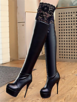 Women's Shoes Stiletto Heel Fashion Boots / Pointed Toe Boots Party & Evening / Dress / Casual Black / White