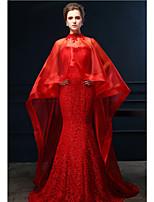 Vestido - Vermelho Festa Formal Sereia Curação Cauda Média Renda