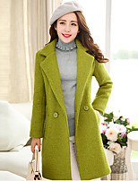 Women's Solid Red / Green / Yellow Coat , Casual Long Sleeve Tweed