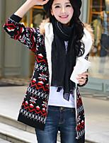 Women's Geometric / Color Block Blue / Red / Black / Beige Cardigan , Vintage Long Sleeve