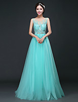 Formal Evening Dress - Sky Blue A-line Scoop Sweep/Brush Train Tulle