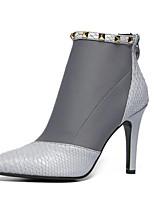 Zapatos de mujer - Tacón Stiletto - Tacones / Puntiagudos - Botas - Vestido - Semicuero - Negro / Gris