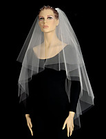 Wedding Veil Two-tier Blusher Veils / Fingertip Veils Cut Edge