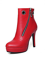 Women's Shoes  Stiletto Heel Round Toe / Closed Toe Boots Office & Career / Dress / Casual Black / Red / White