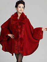 Women's Party/Cocktail Plus Size / Vintage Long Cloak / Capes,Patchwork Blue / Red / Beige / Black Acrylic