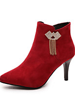 Women's Shoes Stiletto Heel Pointed Toe / Closed Toe Boots  Career / Party & Evening / Dress / Casual Black / Red / Gray