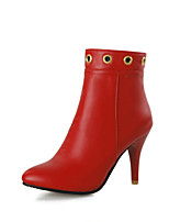Women's Shoes Cone Heel Pointed Toe / Closed Toe Boots Office & Career / Dress / Casual Black / Red