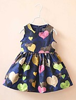 Girl's Sweet Sleeveless Colorful Heart Print Flare Dress For