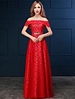 Vestido - Vermelho Festa Formal Linha-A Ombro a Ombro Longo Renda