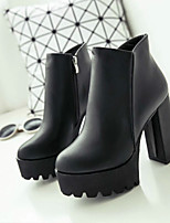 Women's Shoes Leather Chunky Heel Combat Boots Boots Party & Evening / Dress / Casual Black