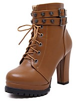 Women's Shoes Chunky Heel Fashion Boots / Combat Boots / Closed Toe Boots Casual Black / Brown