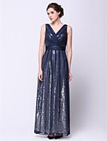 Fiesta formal Vestido - Azul Marino Oscuro Corte A Hasta el Tobillo - Escote en V Gasa