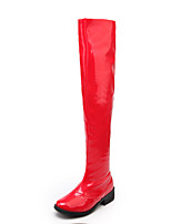 Women's Shoes Leatherette Low Heel Round Toe Boots Outdoor / Office & Career / Casual Black / Red / White
