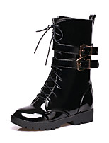 Women's Shoes Leatherette Low Heel Combat Boots / Round Toe Boots Outdoor / Office & Career / Casual Black / Brown