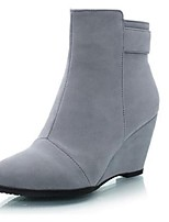 Women's Shoes Suede Platform Closed Toe Boots Casual Black / Gray