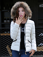 Women's Solid Blue / Red / White Parka Coat , Casual Round Neck Long Sleeve
