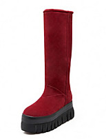Women's Shoes Leatherette Chunky Heel Round Toe Boots Casual Black / Brown / Red / Gray