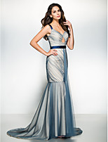 Formal Evening Dress - Multi-color Fit & Flare Straps Sweep/Brush Train Tulle
