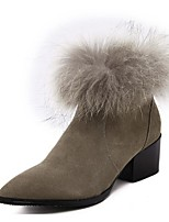 Women's Shoes Fleece Chunky Heel Fashion Boots Boots Party & Evening / Dress / Casual Black / Khaki
