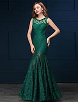 Vestito - Verde Sera Sirena Tondo A Terra Pizzo