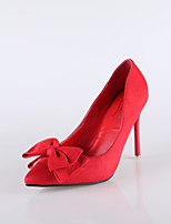 Women's Shoes Suede Stiletto Heel Heels / Pointed Toe / Closed Toe Heels Dress Black / Blue / Pink / Red
