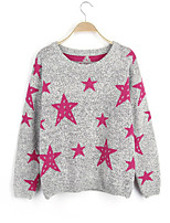 Women's Fashion Casual Star Print Round Neck Cashmere Knit Sweater
