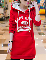 Women's Letter / Patchwork Blue / Red Hoodies , Casual Hooded Long Sleeve