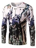 Men's Fashion Horseback Soldier Printed Long-Sleeve T-Shirt