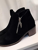 Women's Shoes Fur Chunky Heel Fashion Boots Boots Outdoor / Casual Black / Gray