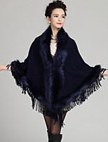Women's Party/Cocktail Plus Size / Vintage Long Cloak / Capes,Patchwork Blue / Red / Black  / AcrylicSpring / Fall