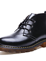 Men's Big Size 38-48 Boots Fashion Boots / Comfort Cowhide / Leather Casual Flat Heel Lace-up Black / Brown Others