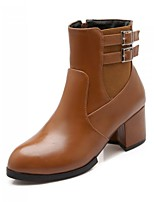 Women's Shoes  Chunky Heel Round Toe / Closed Toe Boots Career / Party & Evening / Dress / Casual Black / Brown / Red