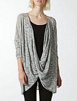 Women's Solid Gray Deep V Neck Fashion Pullover , Casual / Work Long Sleeve