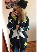 Women's Star Pattern Zipper Front Cardigan