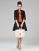 Women's Solid Black Trench Coat , Work ¾ Sleeve Cotton