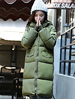 Women's Solid Black / Green / Gray Parka Coat , Casual Hooded Long Sleeve