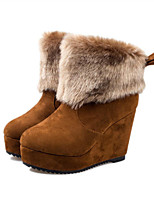 Women's Shoes Suede Flat Heel Snow Boots Boots Party & Evening / Dress / Casual Black / Brown / Red