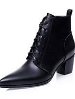 Zapatos de mujer - Tacón Robusto - Botines / Puntiagudos / Punta Cerrada - Botas - Vestido / Casual - Semicuero - Negro